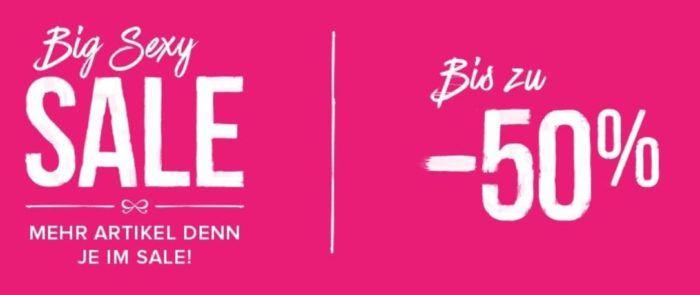 Top! Big Sexy Sale mit bis zu 70% Rabatt:  + 3 Slips für 9€ + Nachtwäsche ab 8,50€ + 20% extra Rabatt
