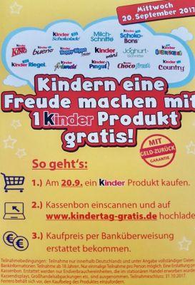 1 Ferrero Kinder Produkt gratis testen   nur am 20.09.