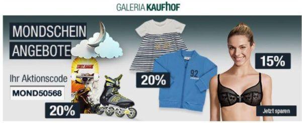 20% Rabatt auf viele Sportmarken, Rollsport & Funwheels, Schreibwaren uvm.   Galeria Kaufhof Mondschein Angebote