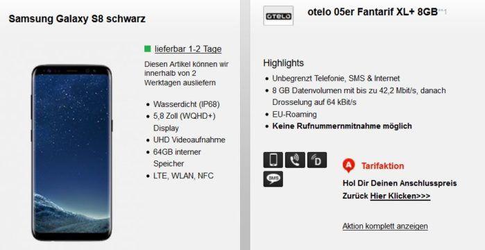 Samsung S8 mit Vodafone Otelo AllNet + SMS Flat + 8 GB Daten für 29,05€ mtl.
