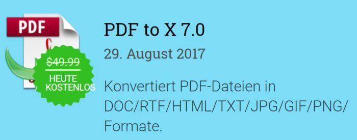 Nur für kurze Zeit: PDF to X Jahreslizenz kostenlos