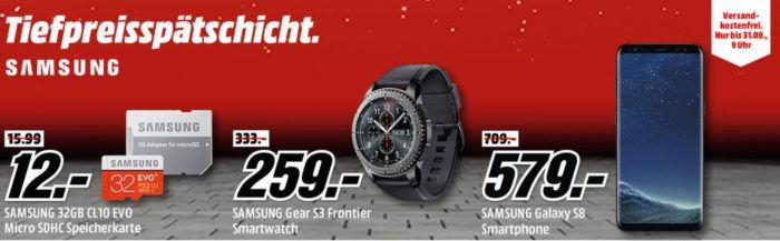 Media Markt Samsung Tiefpreisspätschicht   günstige TVs, Smartphones, Tablets und Haushaltsgeräte   SAMSUNG Gear S3 Classic Smartwatch für 229€