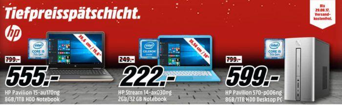 Media Markt HP Tiefpreisspätschicht   günstige Notebooks und PCs z.B. HP Stream Notebook 14 Zoll für 222, €