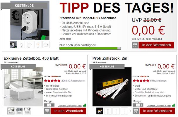 Steckdose mit 2 USB Ports + 2 Gratis Artikel für 5,97€