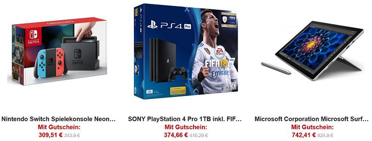 10% Rabatt auf Elektronik Bestseller bei Rakuten   z.B. Surface Pro 4 für 742,41€ (statt 805€)