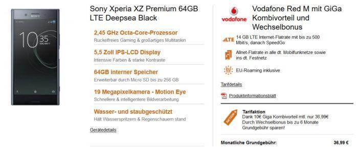 Sony Xperia XZ Premium o. Samsung S8 + Vodafone AllNet + SMS Flat + 14 GB LTE für eff 29,87€ mtl.    nur für Vodafone Kunden