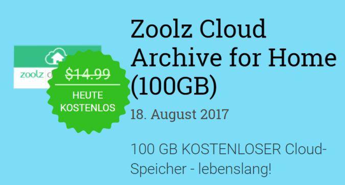 100GB Cloud Speicher bei Zoolz kostenlos   lebenslang