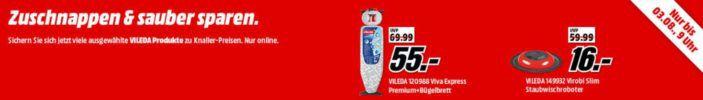 Media Markt VILEDA Aktion   günstige Reinigungs und Bügelgeräte   z.B. VILEDA ViROBi Slim Staubwischroboter für 16, €