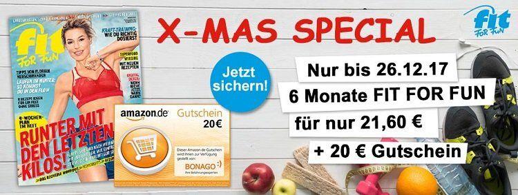 6 Ausgaben fit for fun für 21,60€ + 20€ Amazon Gutschein