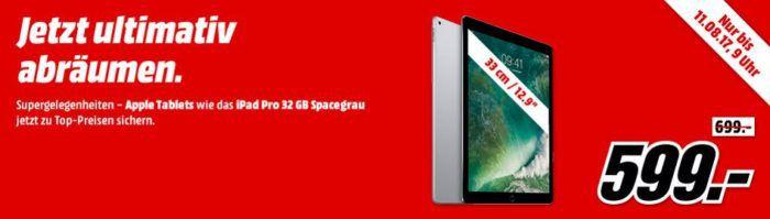 Media Markt Apple iPad Pro Sale   z.B. APPLE iPad Pro WiFi 32GB 9.7 Zoll statt 548€ für 499€
