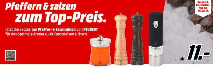 Media Markt: günstige PEUGEOT Salz und Pfeffermühlen ab 11€