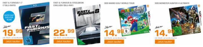Saturn Weekend Sale: u.a. 5Blu rays für 25€   Mario Golf World Tour 3DS für 14,99€