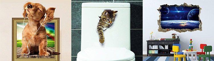 3 Wandsticker bzw. Wandtattoos wie z.B. 3D Katze ab 0,57€