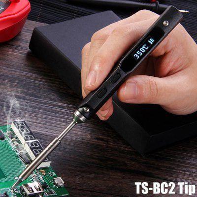 TS100   Lötkolben mit 65 Watt, Temperaturkontrolle, OLED & mehr für 33,78€ (statt 46€)