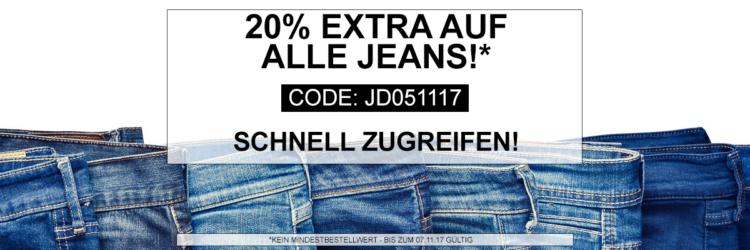 20% Extra Rabatt auf alle Jeans bei Jeans Direct  bis Mitternacht
