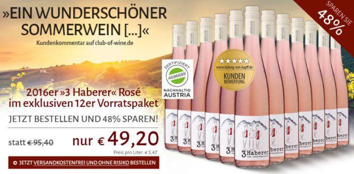 3 Haberer   12 Flaschen Zweigelt Rose´ Wein Österreich 2016 für nur 49,20€