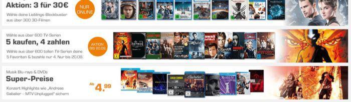 Saturn Weekend Sale: u.a. 3D Filme im 2er Pack für 30€   5 Filme kaufen 4 zahlen