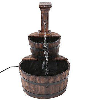 iKayaa Dekobrunnen aus Tannenholz für den Garten mit Wasserpumpe für ~30€ (statt 40€)