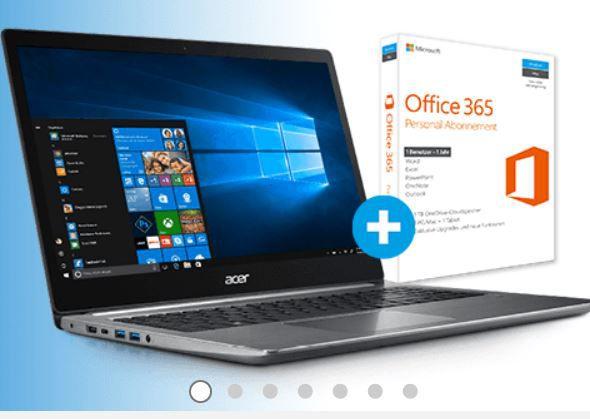 ACER Swift 3   15,6 Notebook mit i5, 128GB SSD, 1TB HDD + Win 10 + Office für 739€