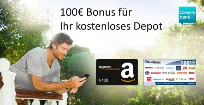 Kostenloses Consorsbank Depot + 100€ Amazon.de Gutschein*