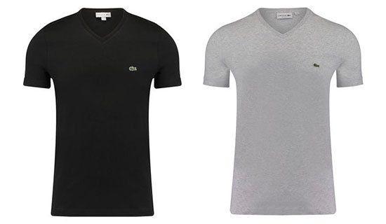 Lacoste Herren T Shirt mit V Neck für 31,87€ (statt 44€)