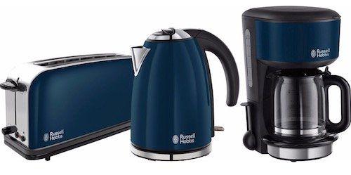 Russell Hobbs Colours Royal Blue Frühstücks Set (Toaster, Wasserkocher, Kaffeemaschine) für 79,99€ (statt 92€)