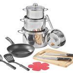 Küchen-Starterset mit 3 Töpfen, Pfanne, Stielkasserolle uvm. für 43,94€