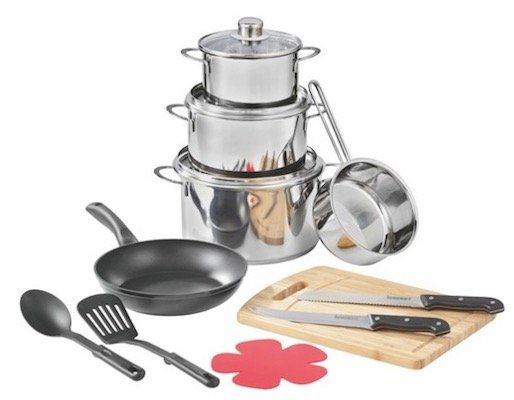 Küchen Starterset mit 3 Töpfen, Pfanne, Stielkasserolle uvm. für 43,94€
