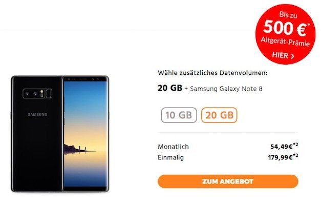 o2 Free L mit 20GB LTE für 54,49€ mtl. + Samsung Galaxy Note 8 für 179,99€ + bis zu 500€ Altgerätprämie