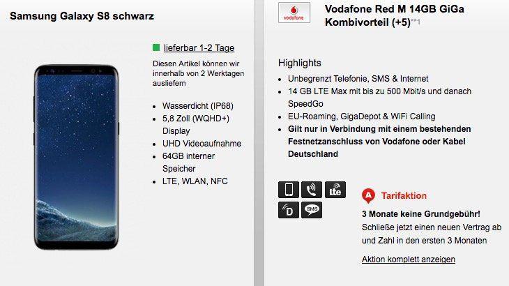Vodafone Red M mit 14GB LTE dank Giga Kombi Vorteil für 32,36€ mtl. + Samsung Galaxy S8 für 1€   nur Vodafone DSL oder Kabel Deutschland Kunden!