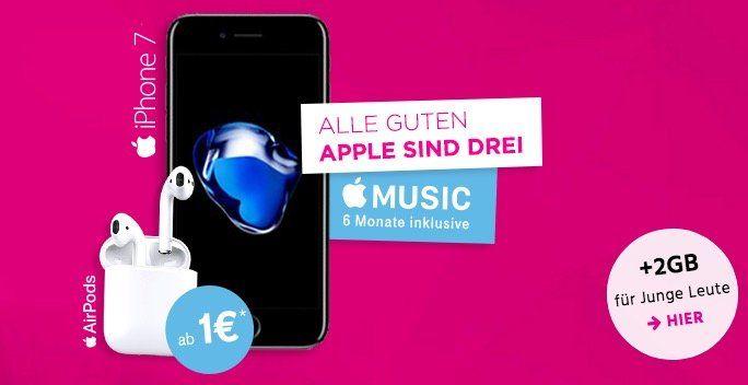 iPhone 7 mit 32GB + Apple AirPods + 6 Monate Apple Music für 1€ + Telekom MagentaMobil mit 4GB LTE ab 45,16€mtl.