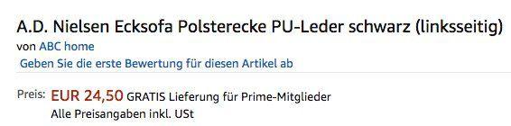 Preisfehler! A.D. Nielsen Ecksofa Polsterecke aus PU Leder für 24,50€