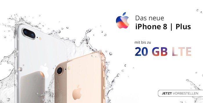 Apple iPhone 8 64GB für 1€ + o2 Free L mit 20GB LTE für 54,99€mtl.