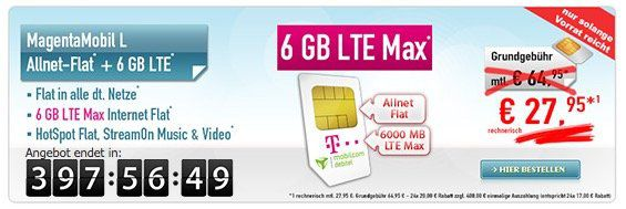 Telekom MagentaMobil L mit 6GB LTE (junge Leute 12GB!) für effektiv 27,95€ mtl.