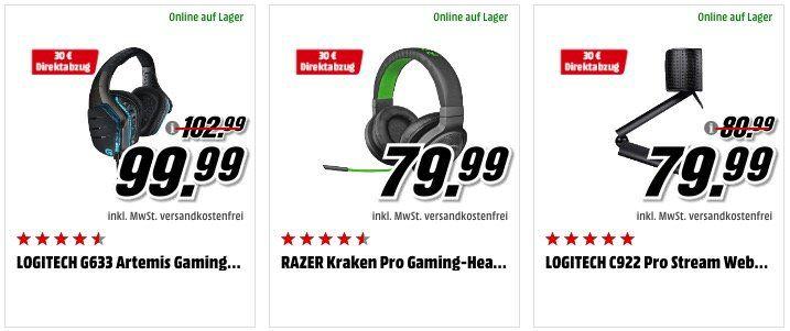 30€ Direkt Abzug bei Media Markt   z.B. Logitech G633 Artemis Gaming Headset für 69,99€ (statt 95€)