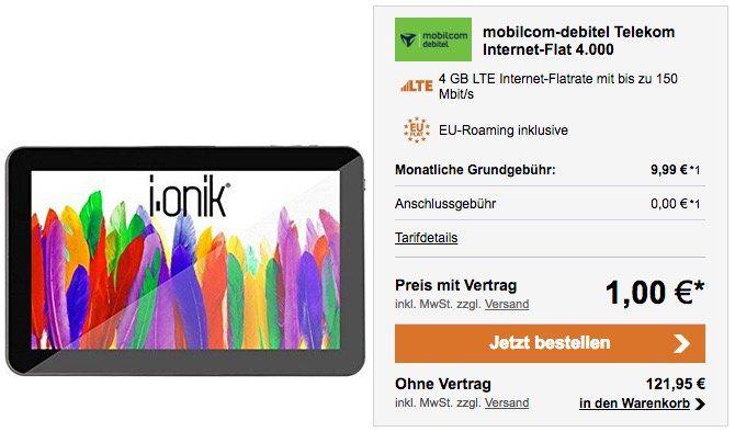 Telekom 4GB LTE Datentarif für 9,99€ mtl. + 7 Zoll i.onik Global 7.0 LTE Tablet für 1€