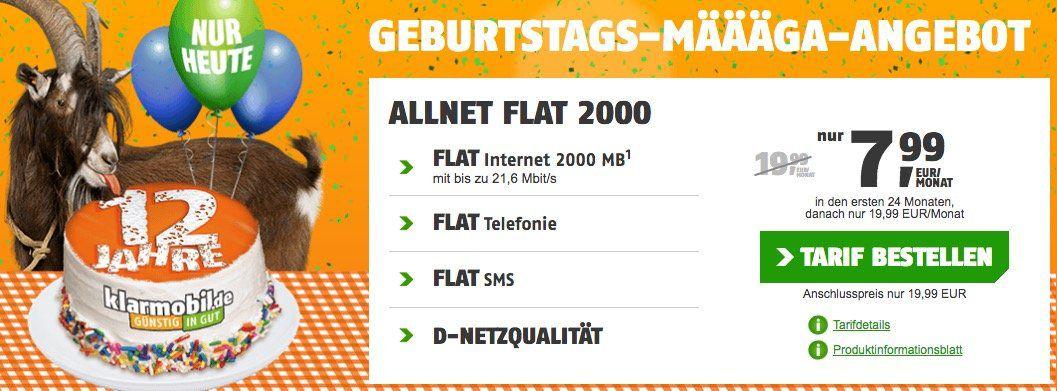 Knaller   nur heute! 12 Jahre klarmobil   Vodafone Allnet Flat mit 2GB für 7,99€mtl.