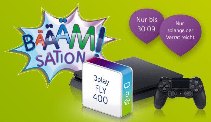 Unitymedia 3Play Fly 400 (bis 400 Mbit/s Internet, Tele Flat, TV) für 49,99€ mtl. + gratis PS4 slim mit 1TB