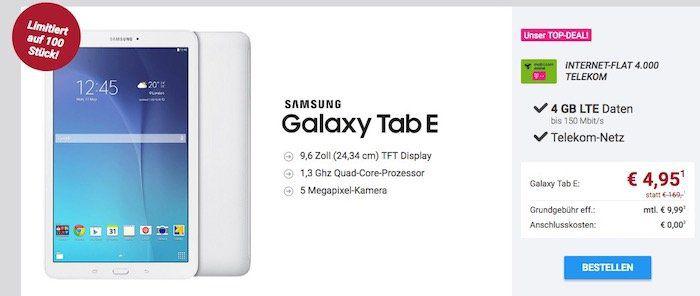 Hammer! Telekom 4GB LTE Datentarif für 9,99€ mtl. + Samsung Galaxy Tab E für 4,95€