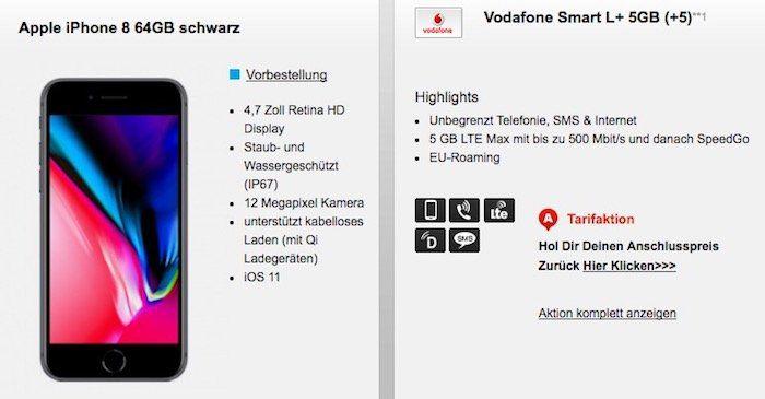 Vodafone Smart L mit 5GB LTE für 41,99€mtl. + Top Smartphone   z.B. iPhone 8 64GB für 99€ oder iPhone 7 128GB für 19€