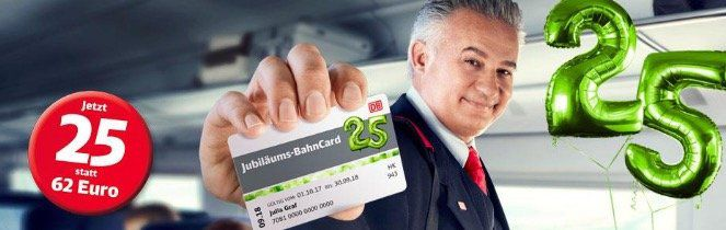 Jubiläums Bahncard 25 (2. Klasse) für 25€ (statt 62€)   1. Klasse nur 50€!