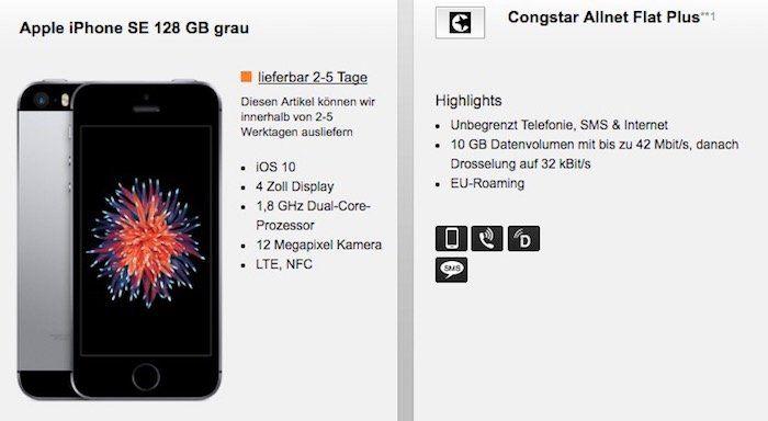 Congstar Allnet Flat mit 10GB für 30€ mtl. + iPhone SE 128GB (o. Honor 9) für 49€