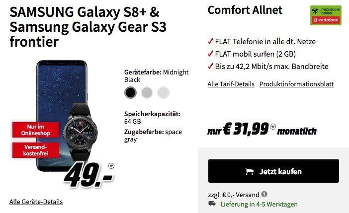 Knaller! Galaxy S8 Plus + Galaxy Gear S3 Frontier für 49€ (statt 874€) + Vodafone Flat mit 2 GB für 31,99€mtl.