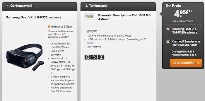 Vodafone Tarif mit 100 Freiminuten + 1GB für 4,95€mtl. + Samsung Gear VR Brille für 4,95€