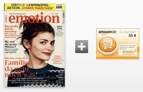 12 Ausgaben EMOTION für 62,40€ inkl. 55€ Amazon Gutschein oder 50€ Verrechnungsscheck