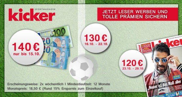 Kicker Jahresabo (52 Ausgaben) für 222€ inkl. 130€ Verrechnungsscheck