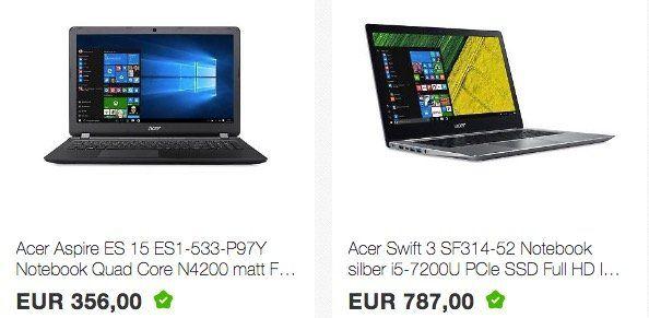 Windows Power von Cyberport   z.B. Acer Aspire ES Notebook für 356€ (statt 401€)