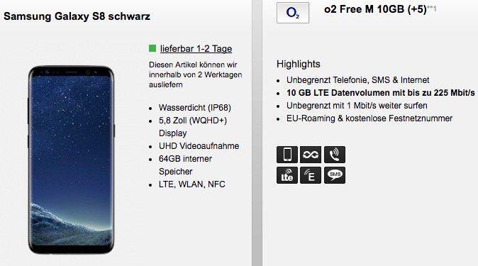 Samsung Galaxy S8 + Samsung Gear Fit2 nur 29,95€ + o2 Free M mit 10GB LTE für 34,99€mtl.