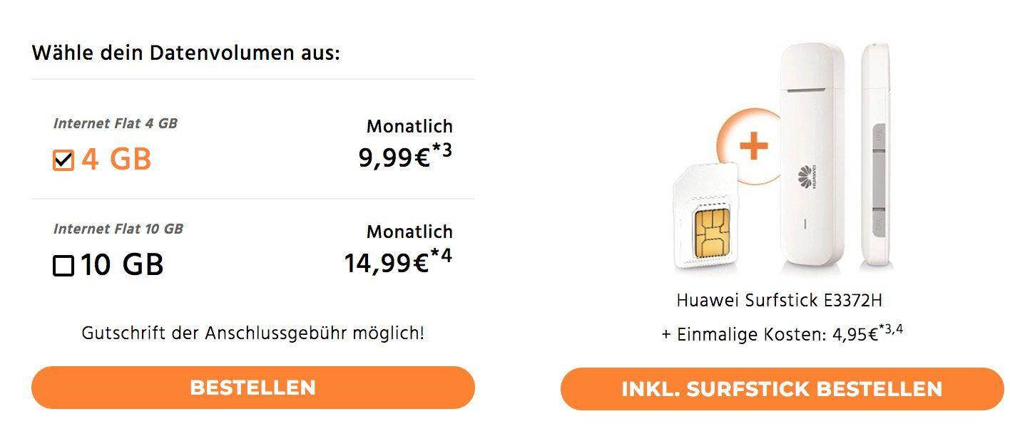 Telekom LTE Datentarife mit 4GB für 9,99€ mtl. oder 10GB für 14,99€ mtl.   auch Vodafone verfügbar!