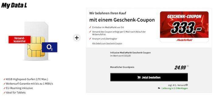 Knaller! o2 My Data L mit 40GB LTE Max für 24,99€ mtl. + 333€ Media Markt Gutschein